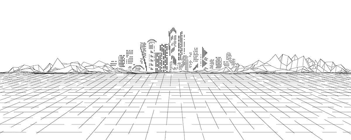 An ink drawing of a digital landscape